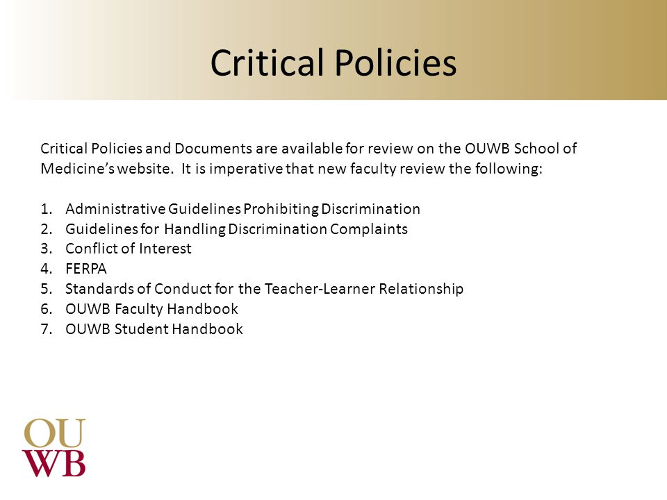 Critical Policies
