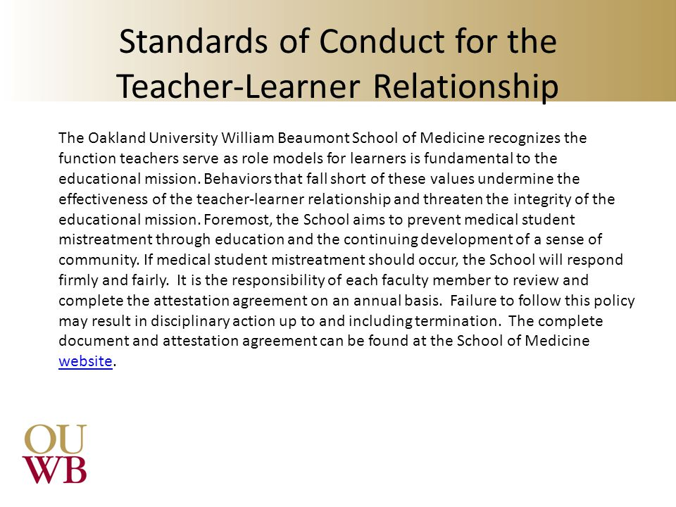 Standards of Conduct for the Teacher-Learner Relationship