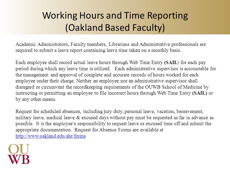 Working Hours and Time Reporting (Oakland Based Faculty)