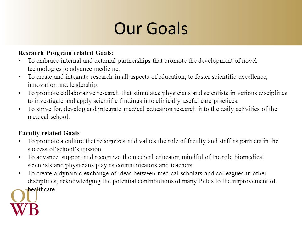 Our Goals Research Program related Goals: