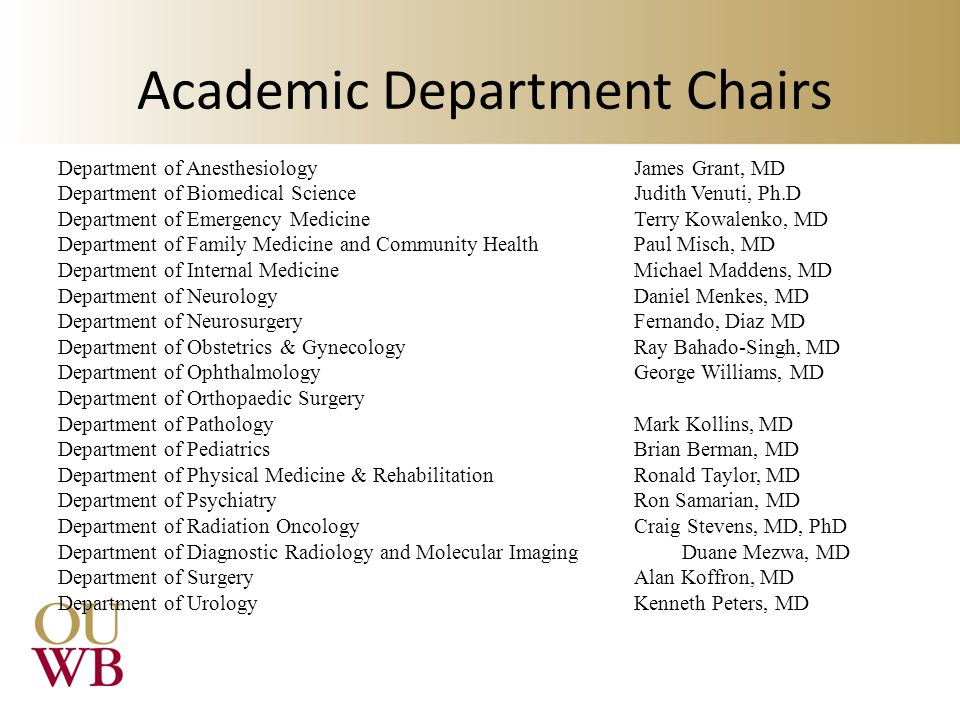 Academic Department Chairs