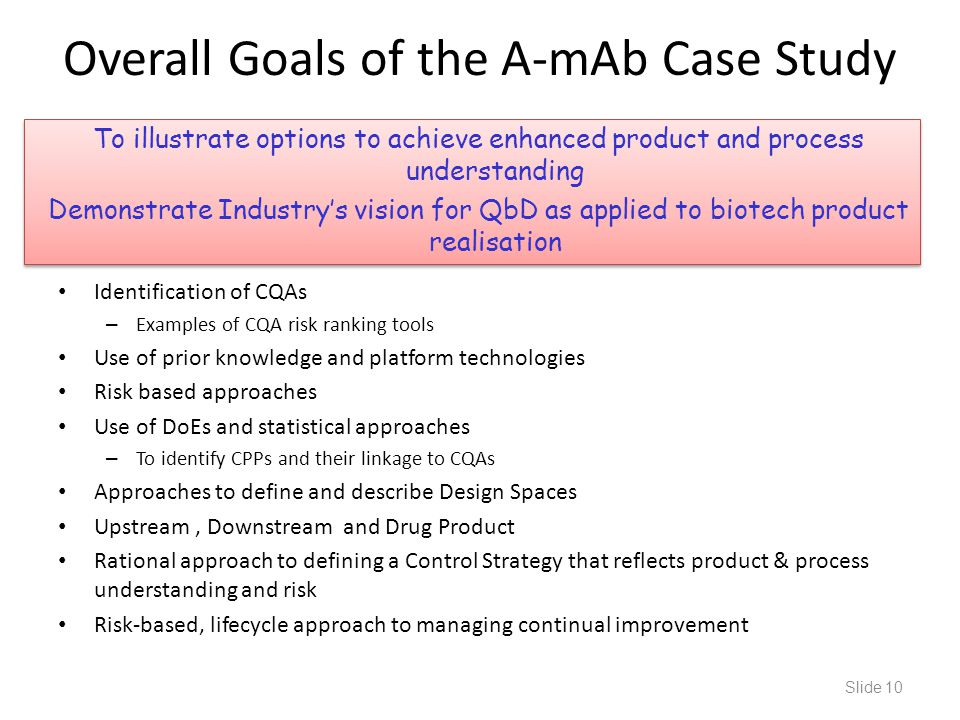 Overall Goals of the A-mAb Case Study