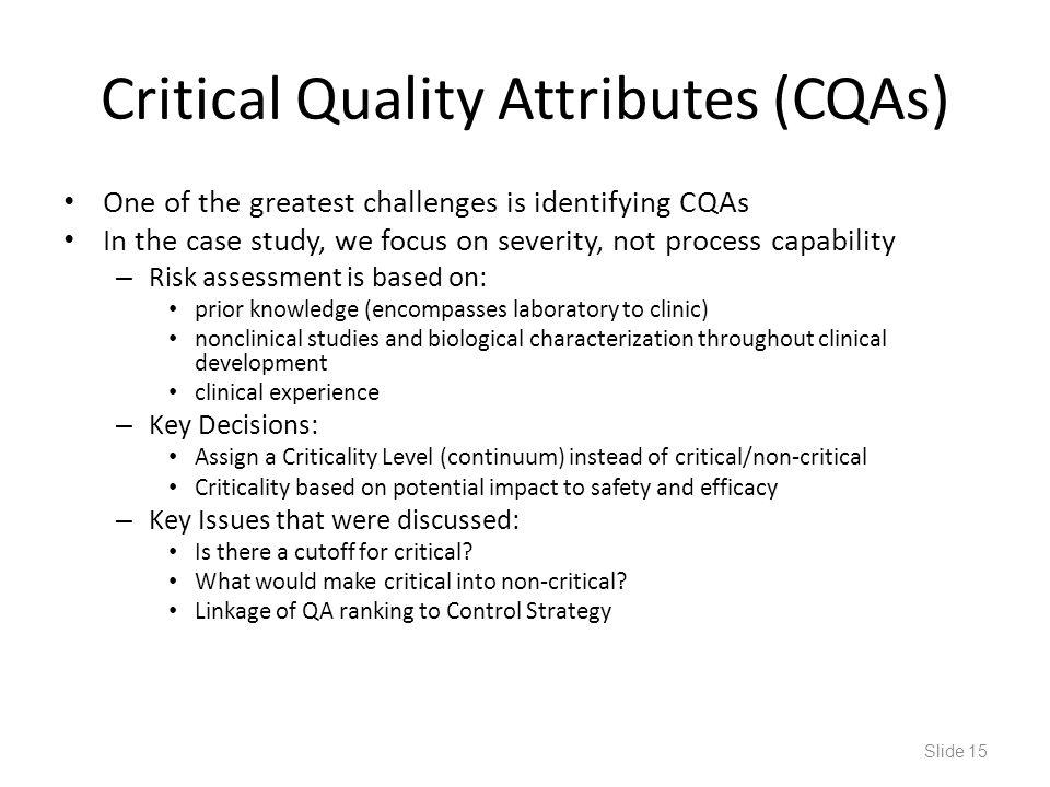 Critical Quality Attributes (CQAs)