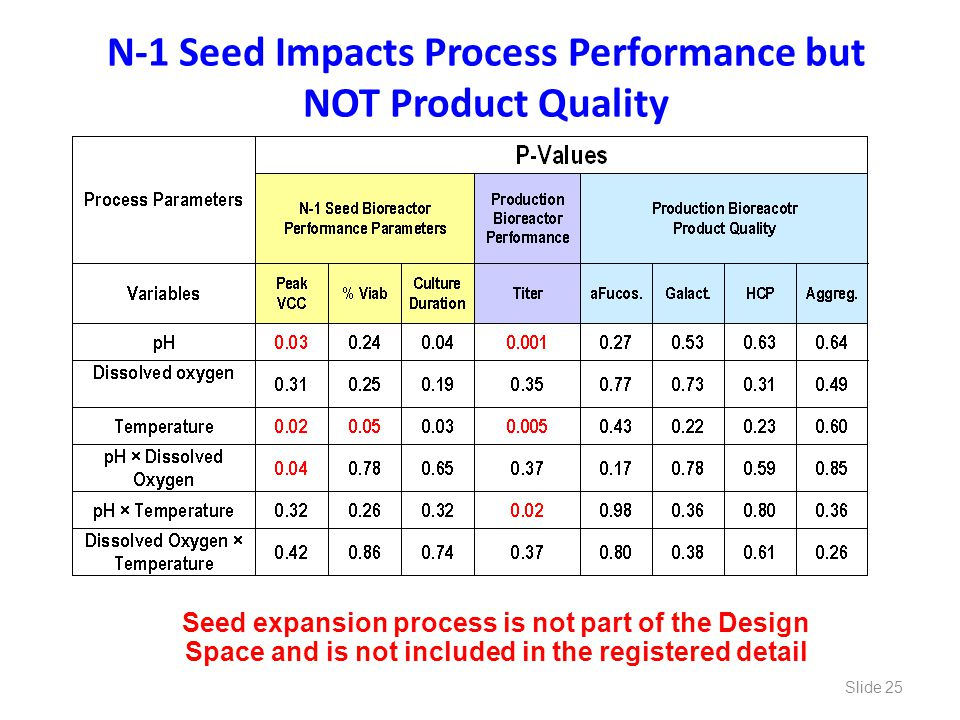 N-1 Seed Impacts Process Performance but NOT Product Quality