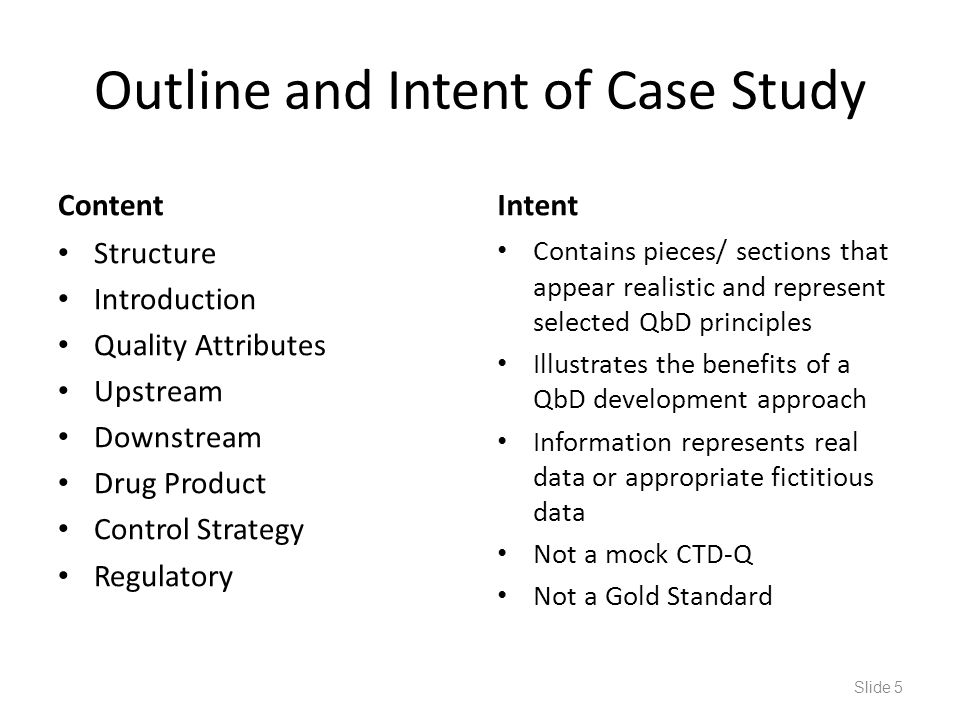 Outline and Intent of Case Study