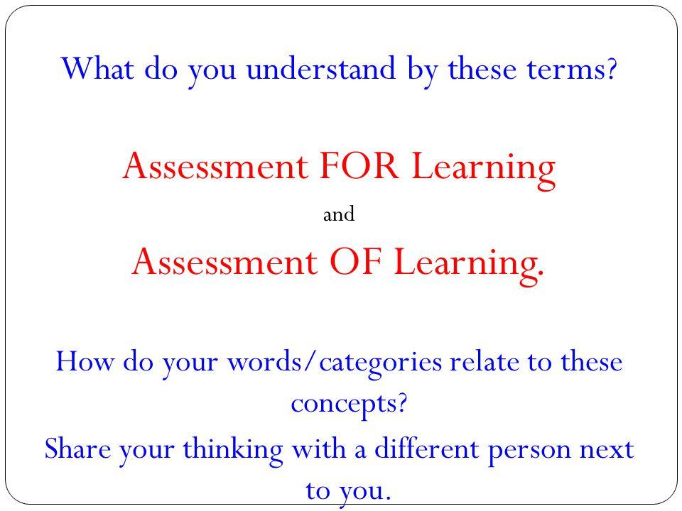 Assessment FOR Learning Assessment OF Learning.