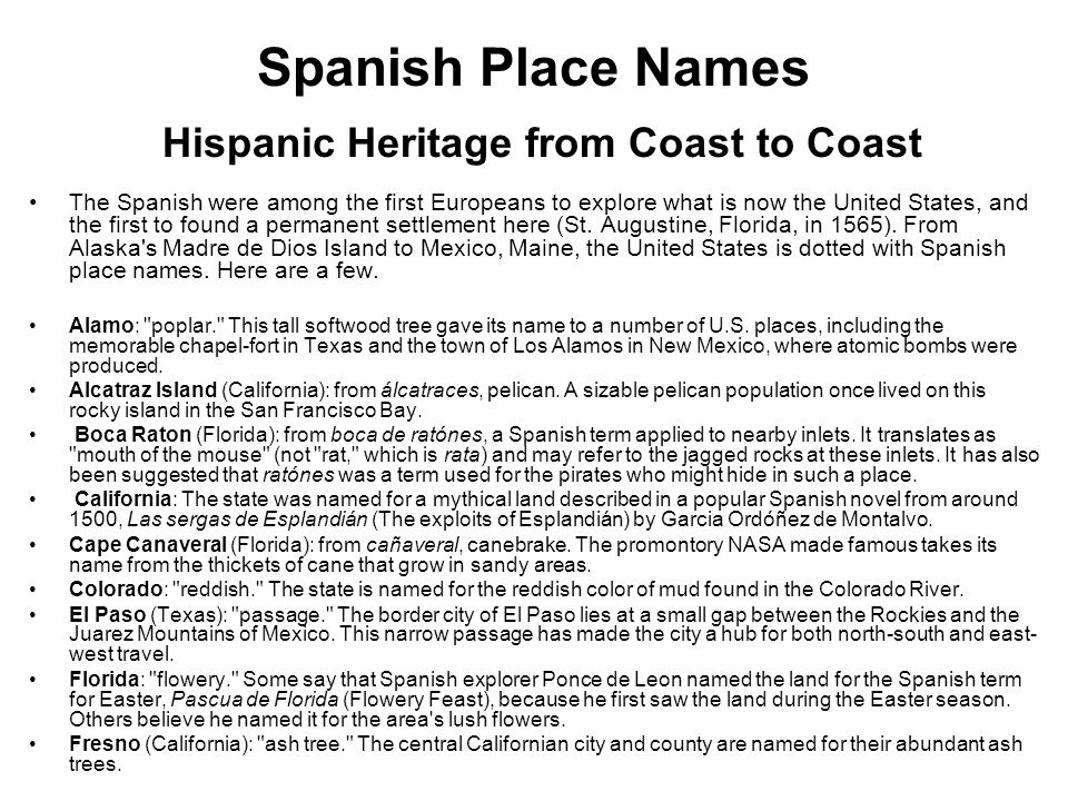 Spanish Place Names Hispanic Heritage from Coast to Coast