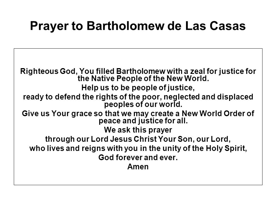 Prayer to Bartholomew de Las Casas