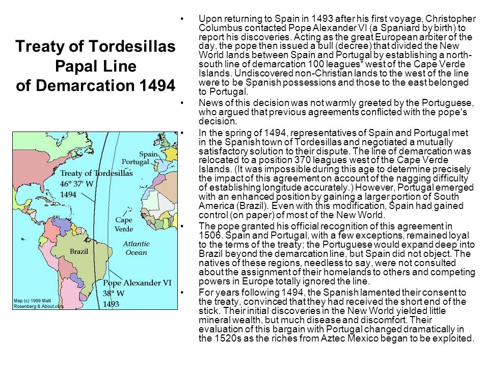 Treaty of Tordesillas Papal Line of Demarcation 1494