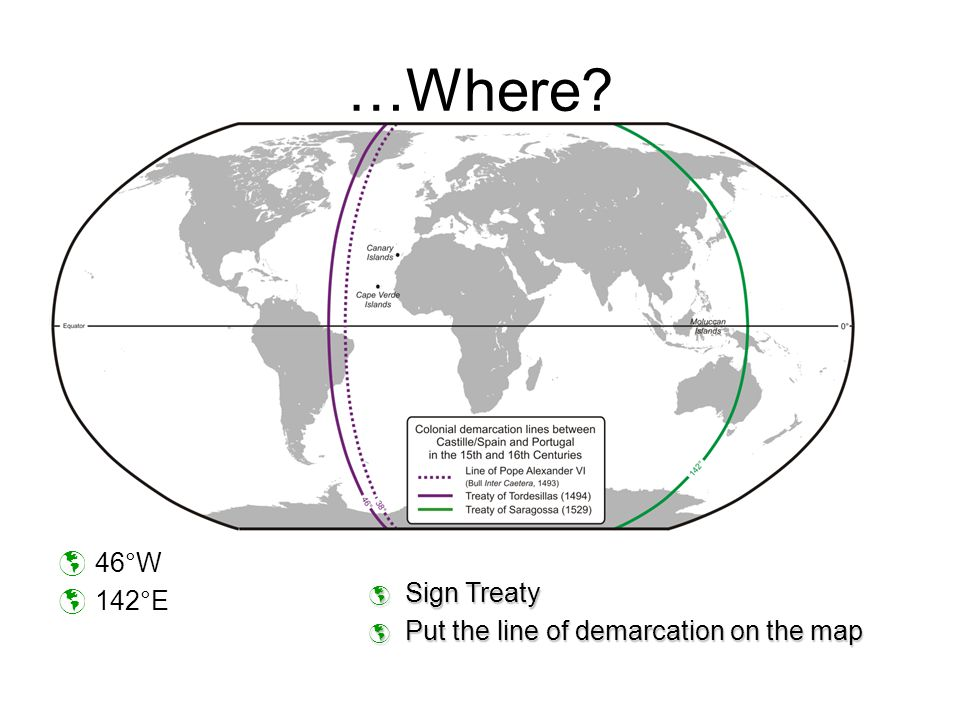 …Where 46°W 142°E Sign Treaty Put the line of demarcation on the map