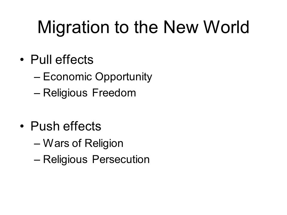 Migration to the New World