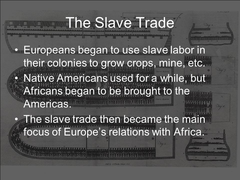 The Slave Trade Europeans began to use slave labor in their colonies to grow crops, mine, etc.