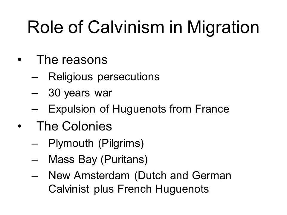 Role of Calvinism in Migration