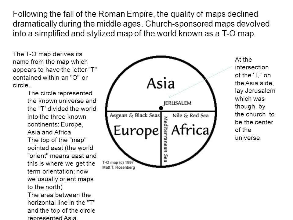 Following the fall of the Roman Empire, the quality of maps declined dramatically during the middle ages. Church-sponsored maps devolved into a simplified and stylized map of the world known as a T-O map.