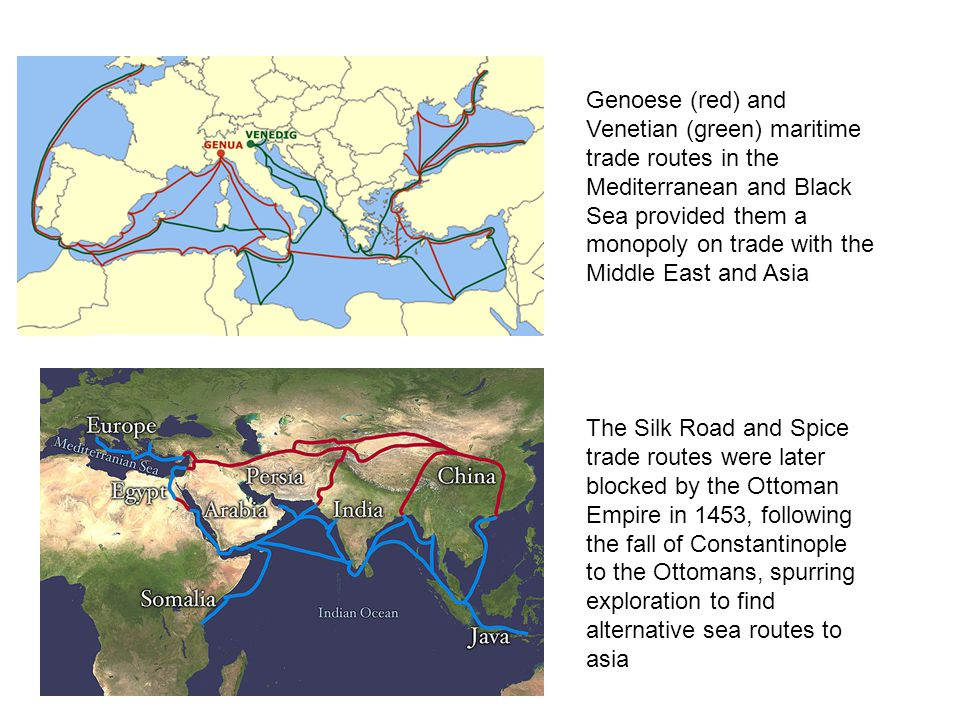 Genoese (red) and Venetian (green) maritime trade routes in the Mediterranean and Black Sea provided them a monopoly on trade with the Middle East and Asia