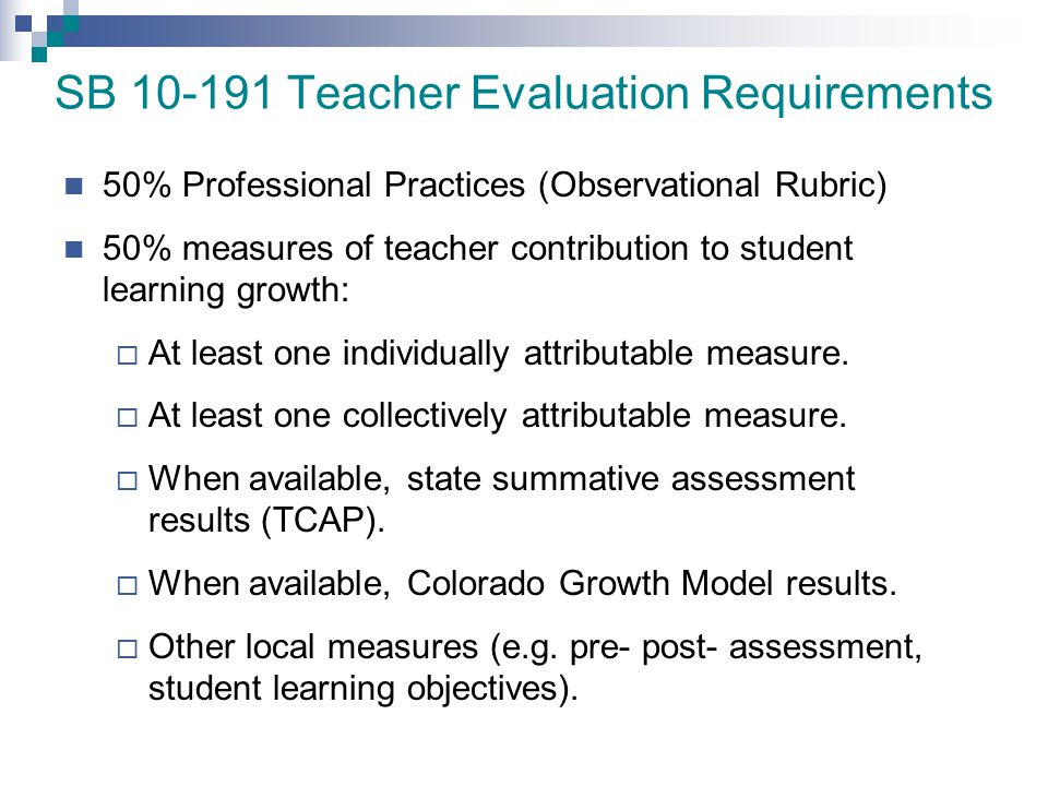 SB 10-191 Teacher Evaluation Requirements