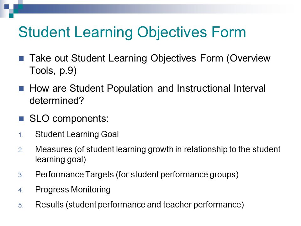 Student Learning Objectives Form