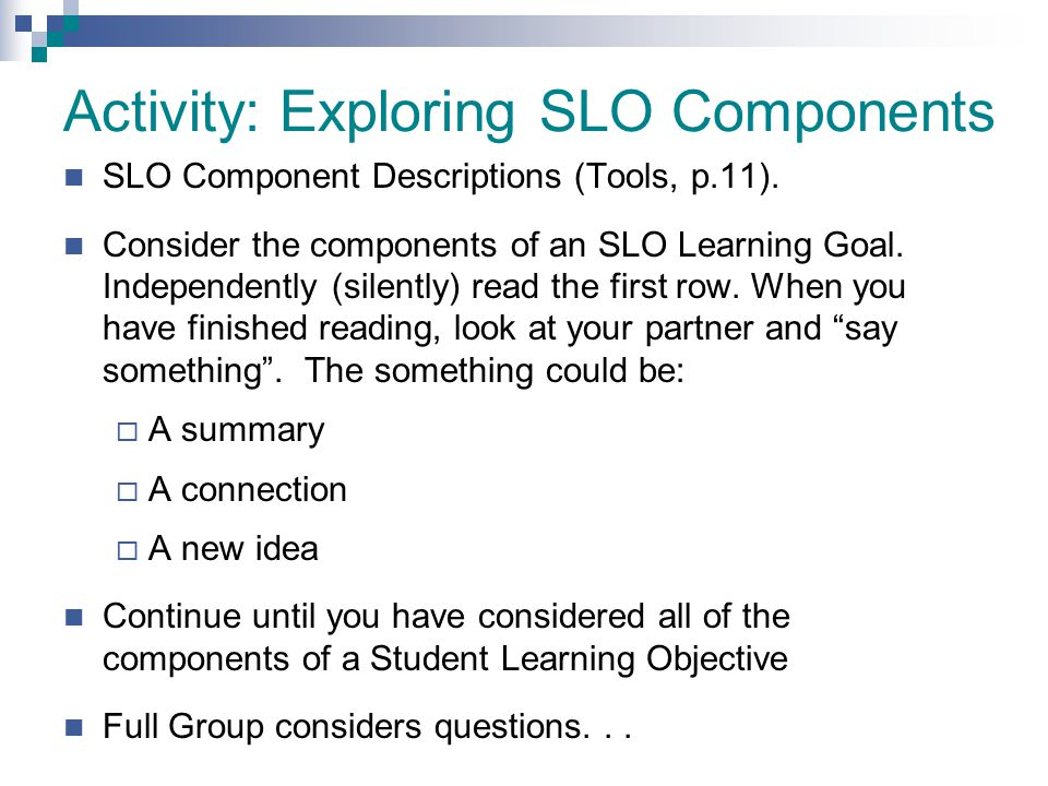 Activity: Exploring SLO Components