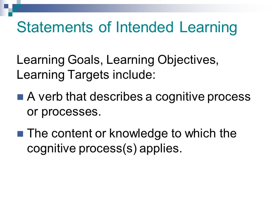Statements of Intended Learning