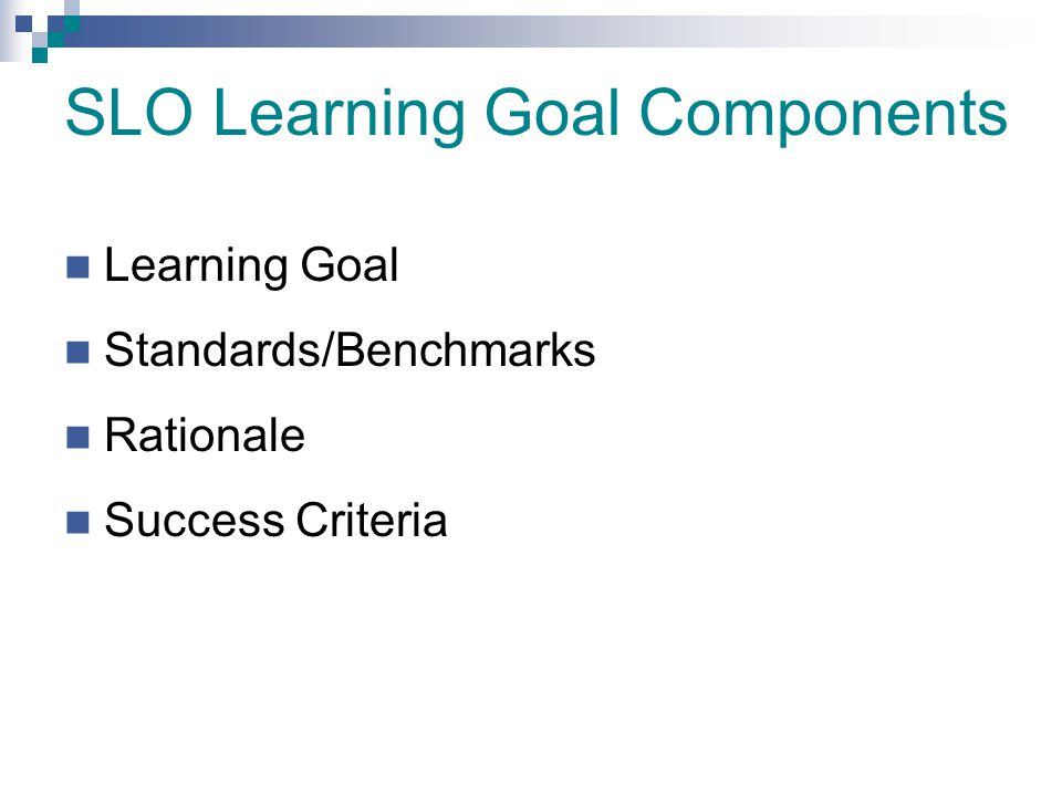 SLO Learning Goal Components