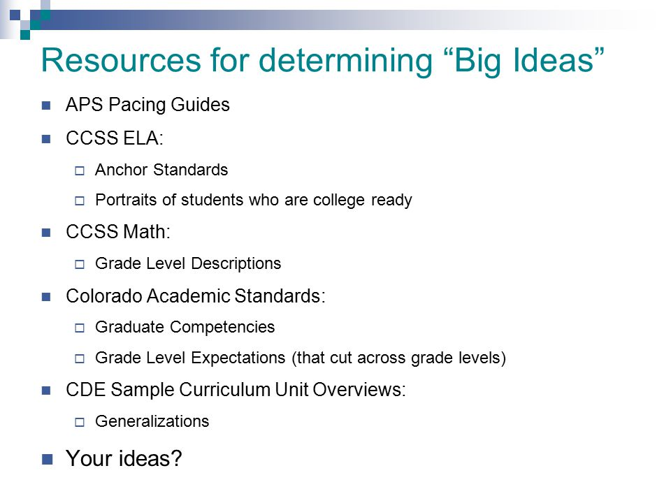 Resources for determining Big Ideas