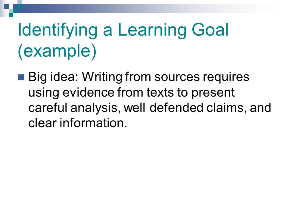 Identifying a Learning Goal (example)