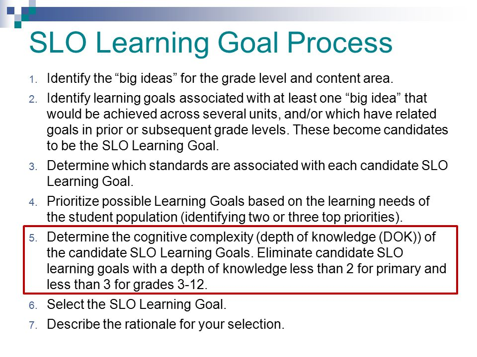 SLO Learning Goal Process