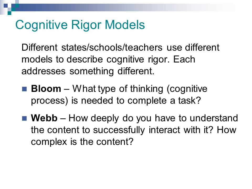 Cognitive Rigor Models