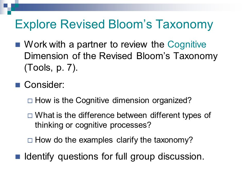 Explore Revised Bloom's Taxonomy