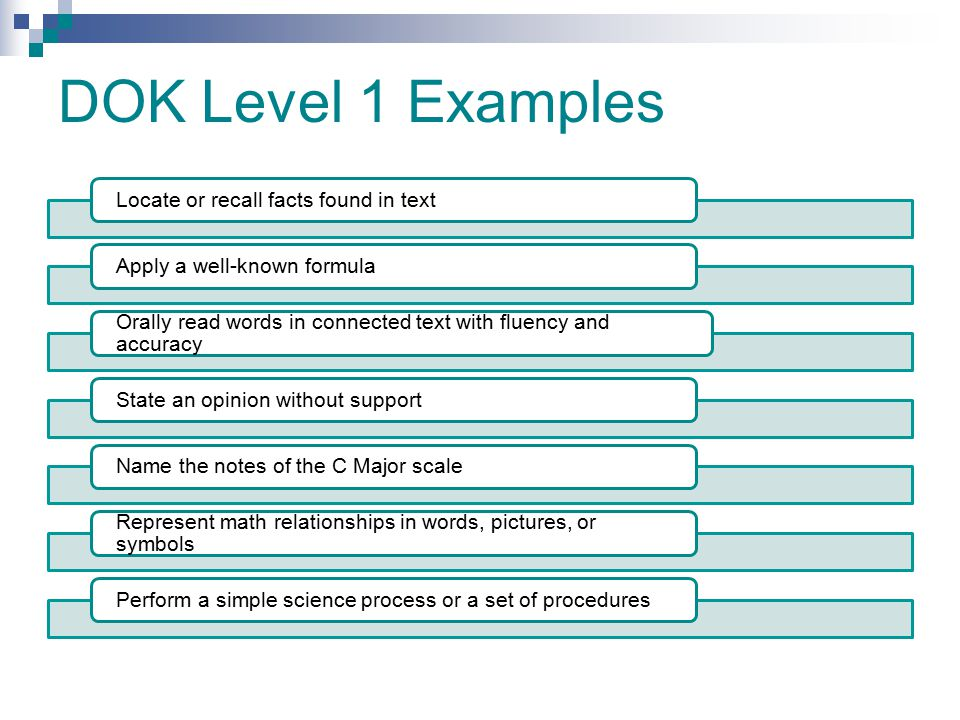DOK Level 1 Examples Locate or recall facts found in text