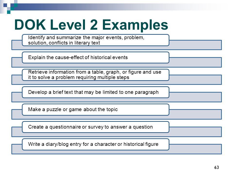 DOK Level 2 Examples Identify and summarize the major events, problem, solution, conflicts in literary text.