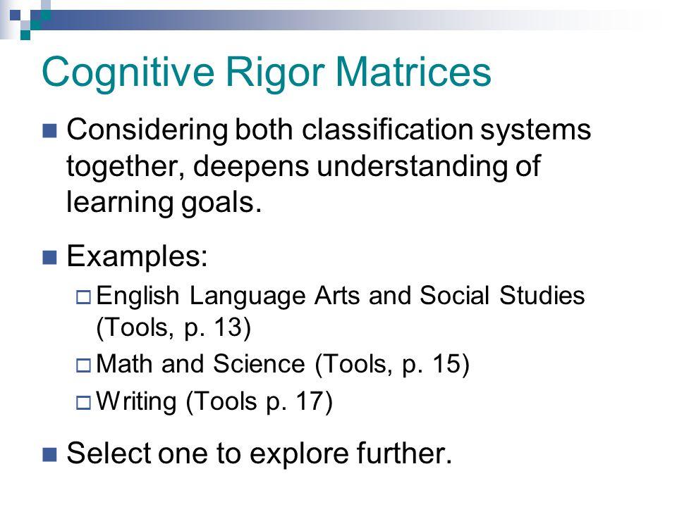 Cognitive Rigor Matrices