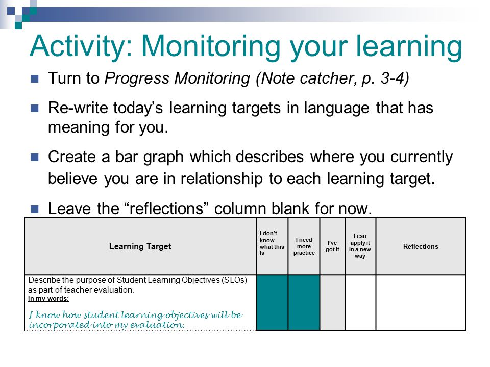 Activity: Monitoring your learning