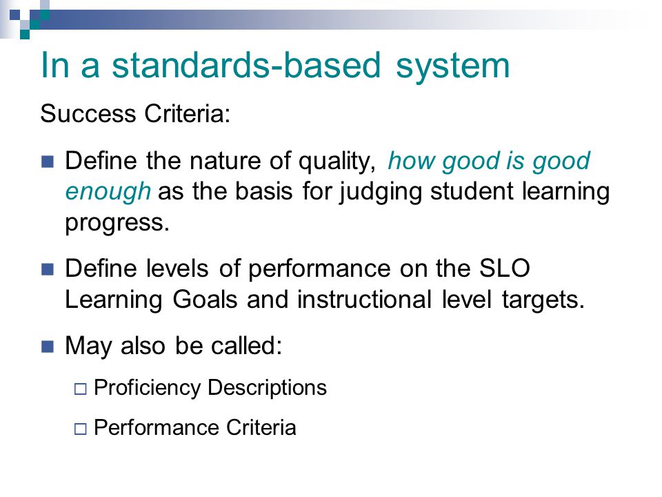 In a standards-based system