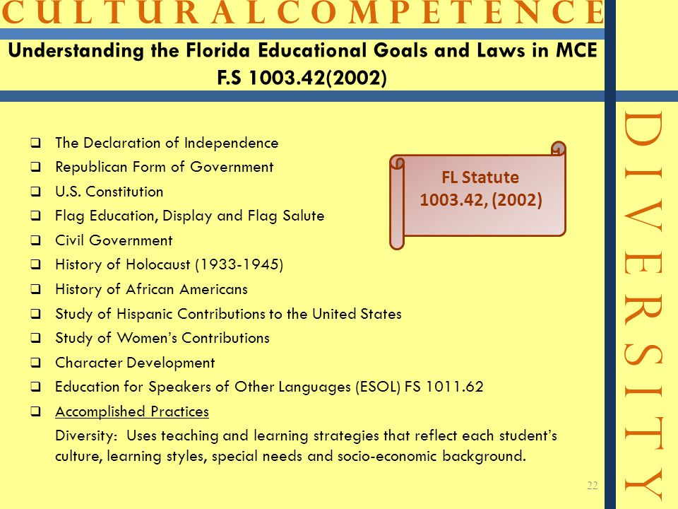Understanding the Florida Educational Goals and Laws in MCE F. S 1003