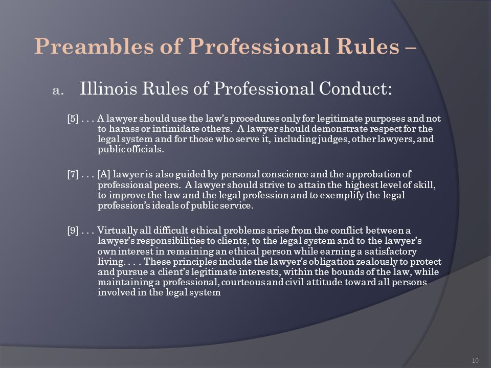 Preambles of Professional Rules –