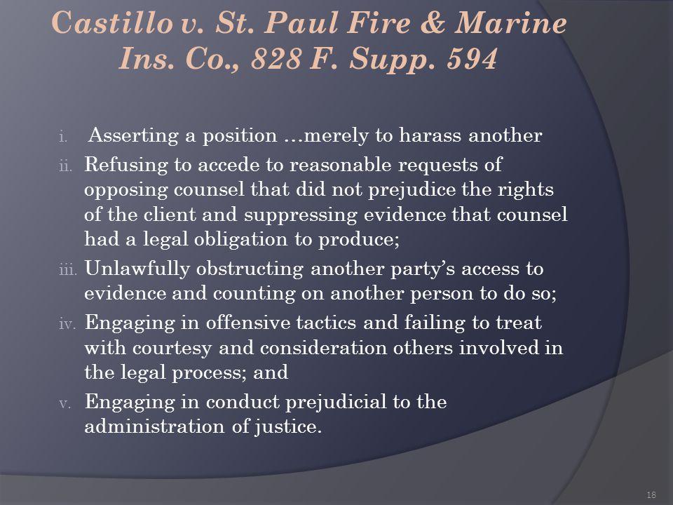 Castillo v. St. Paul Fire & Marine Ins. Co., 828 F. Supp. 594