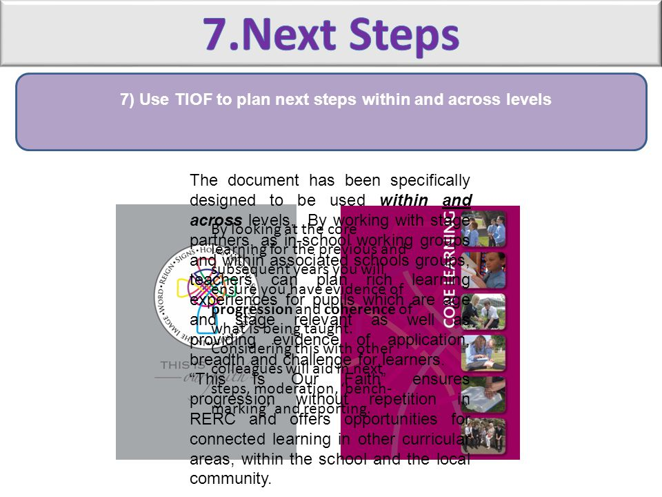 7) Use TIOF to plan next steps within and across levels