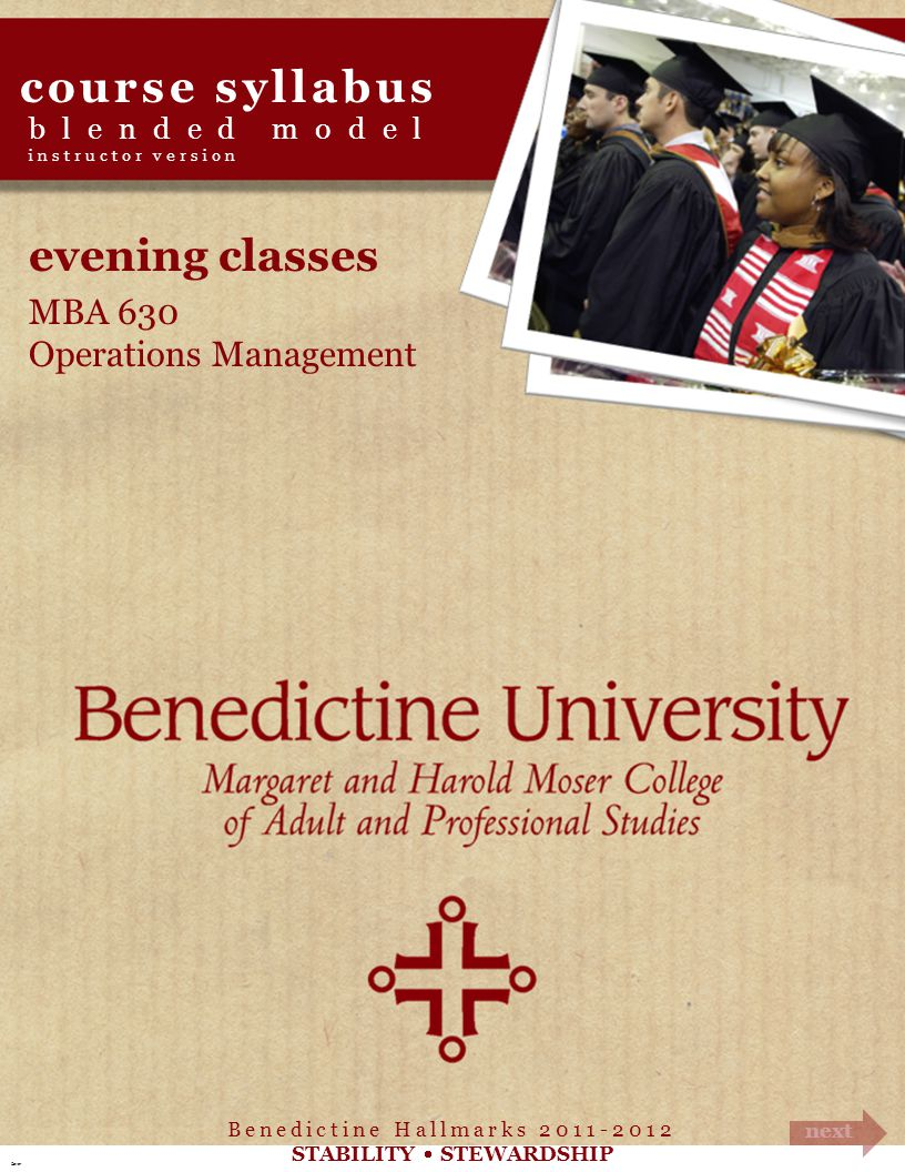 course syllabus evening classes MBA 630 Operations Management