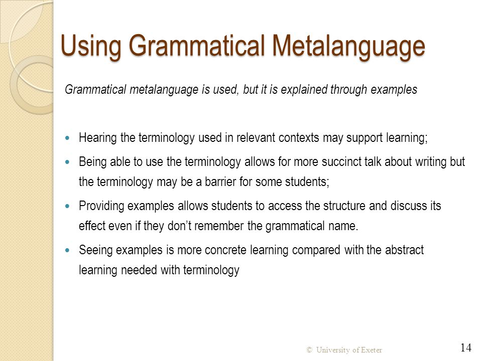 Using Grammatical Metalanguage
