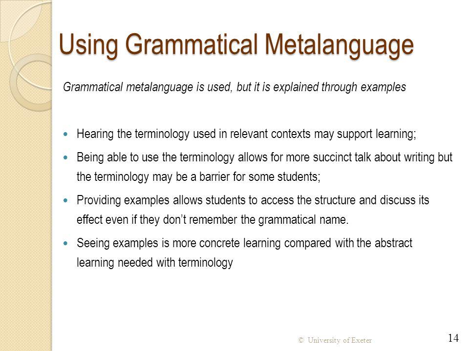 Using Grammatical Metalanguage