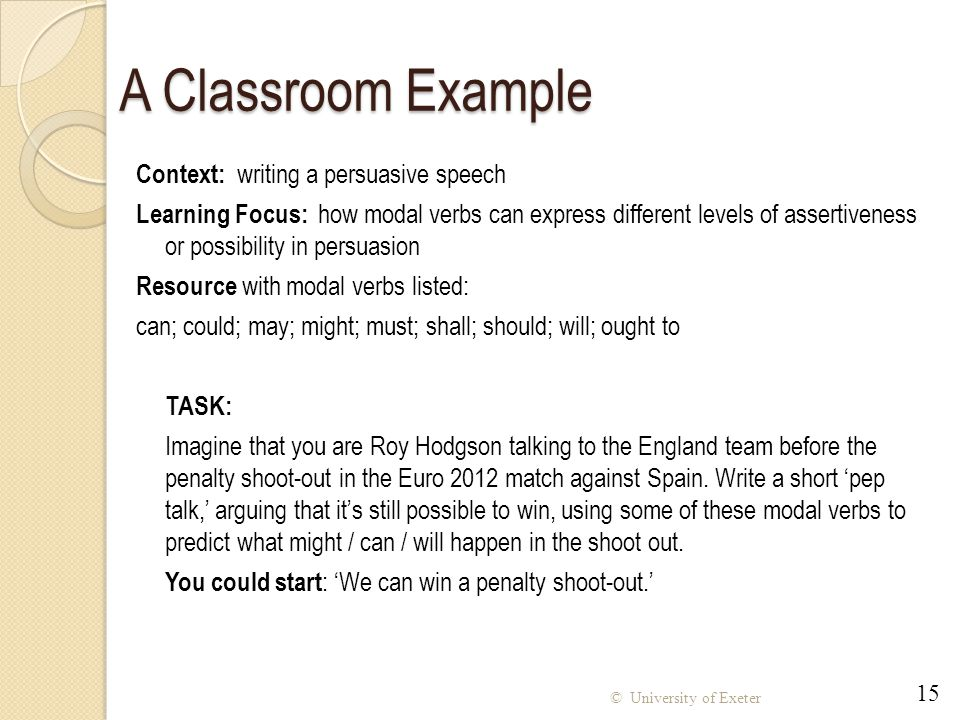 A Classroom Example Context: writing a persuasive speech
