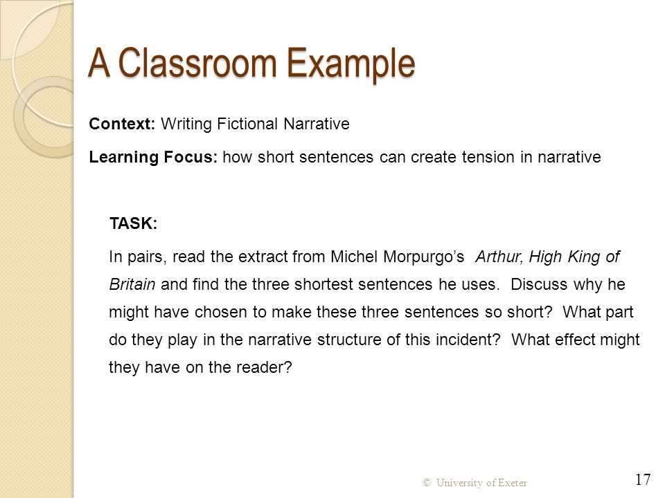 A Classroom Example Context: Writing Fictional Narrative