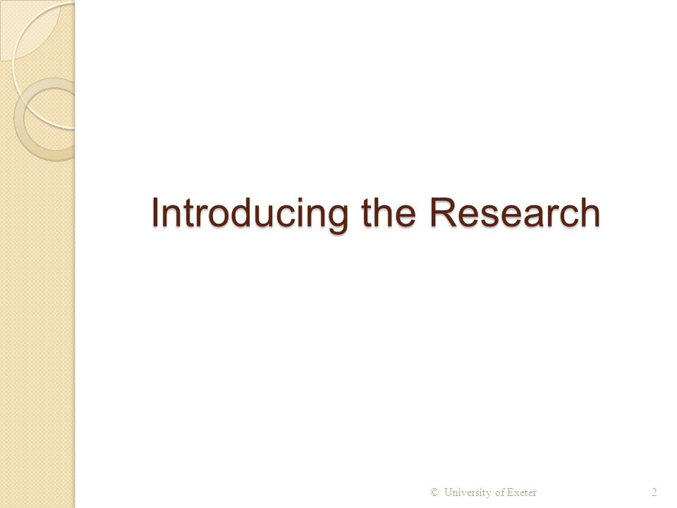 Introducing the Research