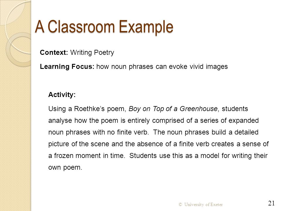 A Classroom Example