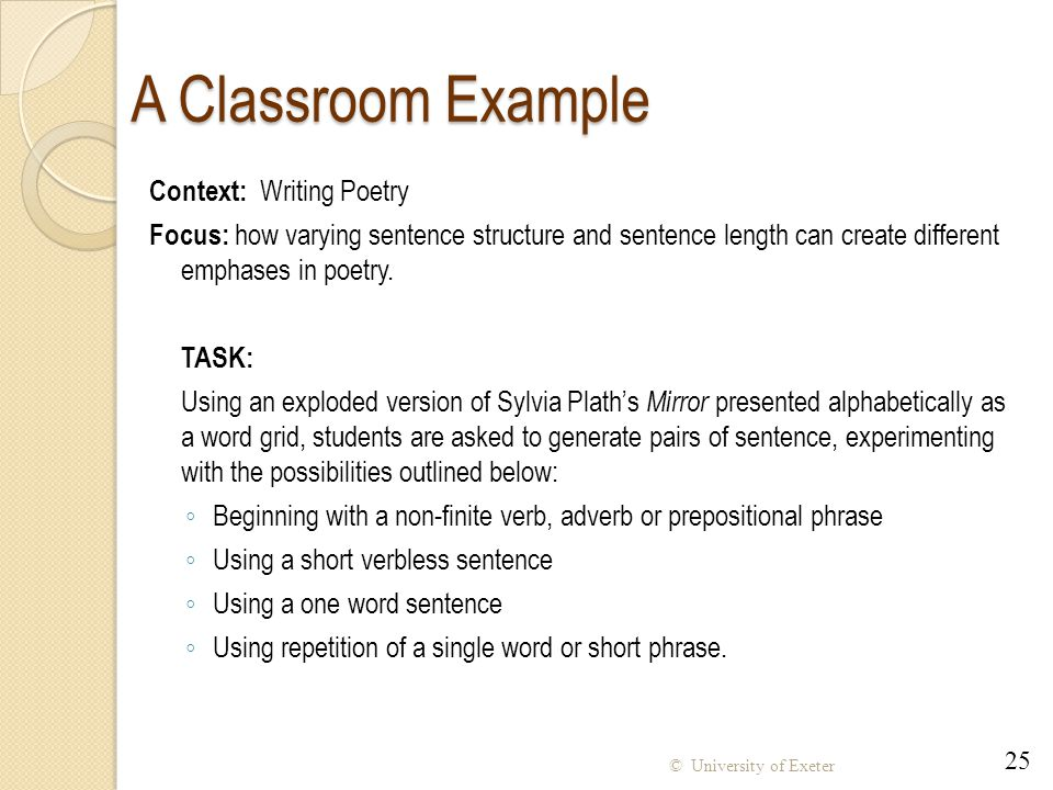 A Classroom Example Context: Writing Poetry