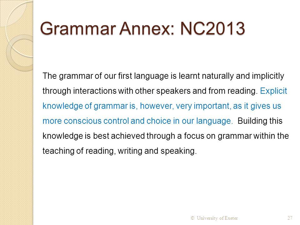 Grammar Annex: NC2013