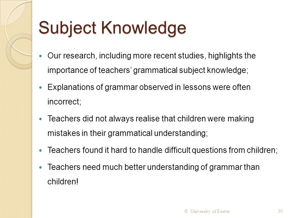 Subject Knowledge Our research, including more recent studies, highlights the importance of teachers' grammatical subject knowledge;