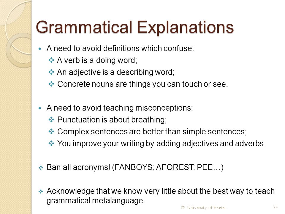 Grammatical Explanations