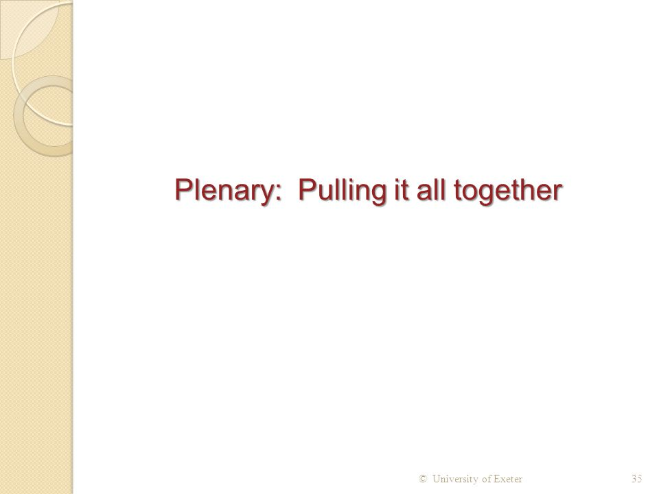 Plenary: Pulling it all together
